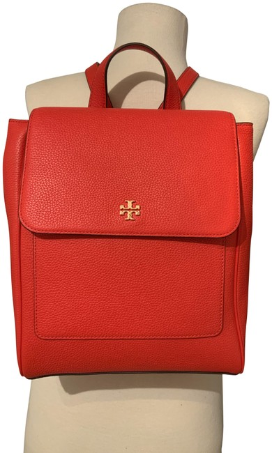 Item - Carter Flap Poppy Red Pebbled Leather Backpack