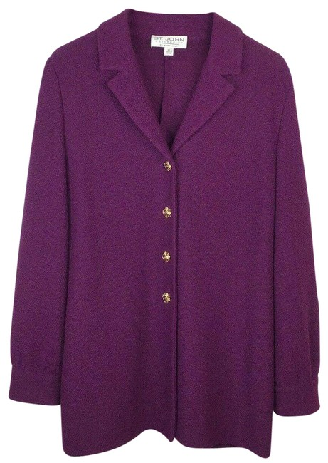 Item - Purple Collection Santana Knit Jacket Marie Gray Blazer Size 12 (L)