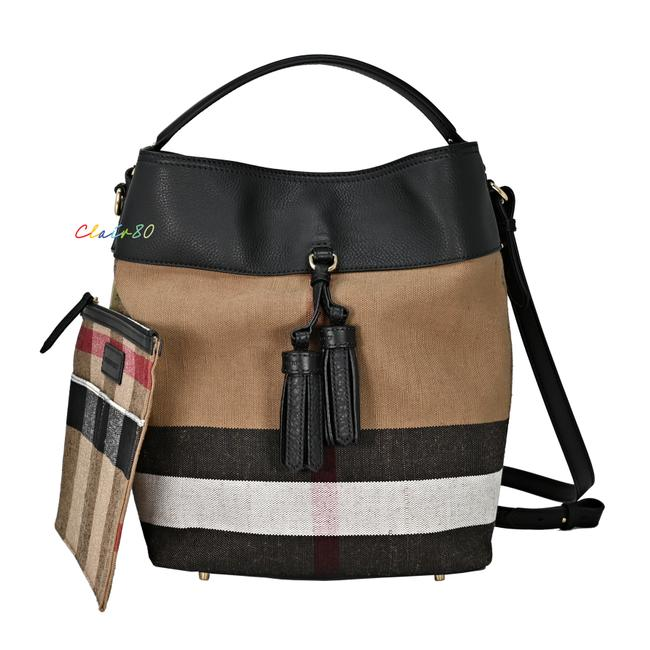 Item - Medium Ashby Check Tassel with Pouch Black Canvas & Leather Hobo Bag