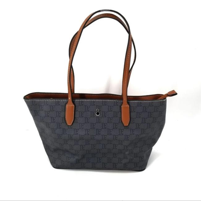 Item - Stafford Monogram Canvas Gray & Brown Leather Tote