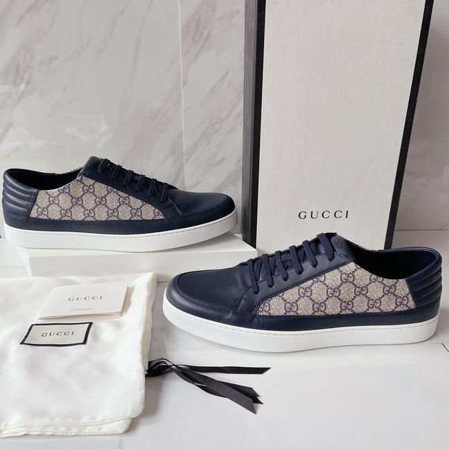 Item - Blue Beige Gg Supreme Mens Low Top Sneakers Canvas Leather Athletic Size US 9 Regular (M, B)