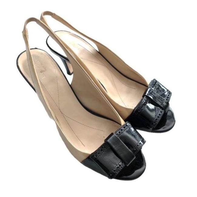 Item - Beige Cream and Black Slingback Heels with Bow Sandals Size US 8 Regular (M, B)