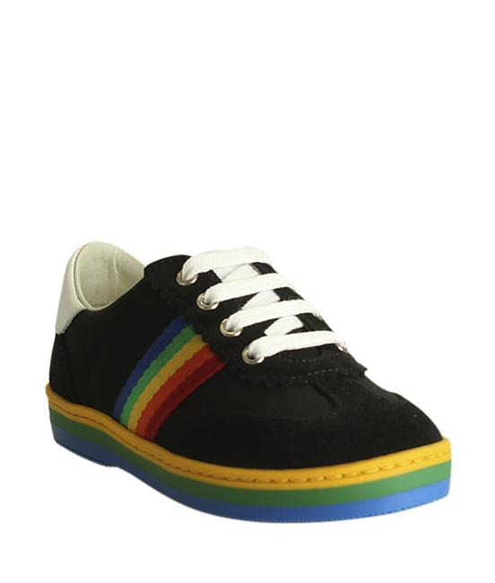 Item - Black Rainbow Stripe Suede & Leather Sneakersx (194240) Formal Shoes Size US 5 Regular (M, B)