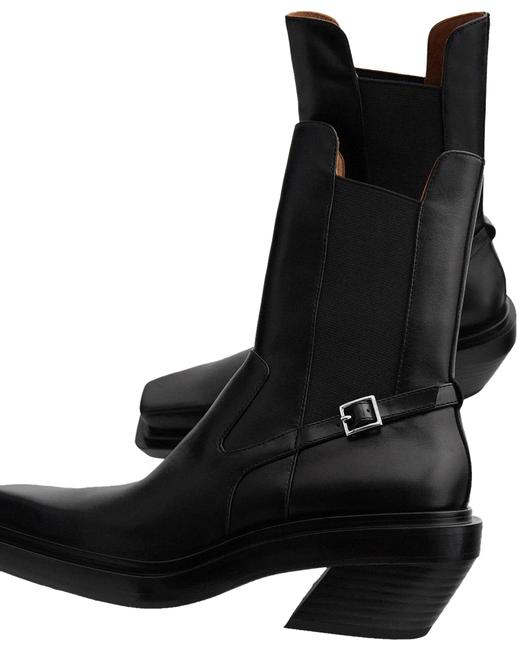 Item - Black Heeled Leather Square Toe Ankle Boots/Booties Size US 10 Regular (M, B)