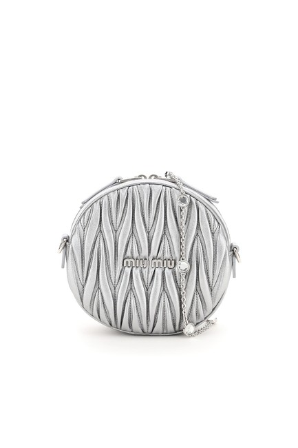 Item - Mini Bag Quilted Round Crystal Chain Silver Tote