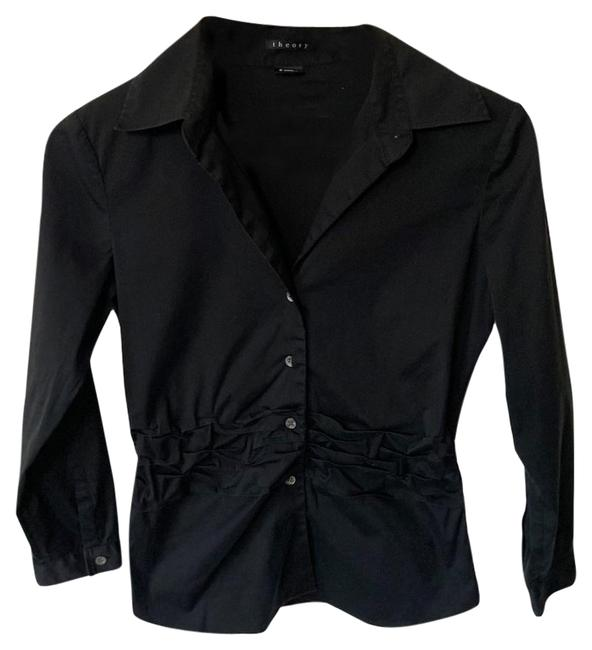 Item - Black Collared Ruffled Gathered Shirt Small Button-down Top Size 6 (S)