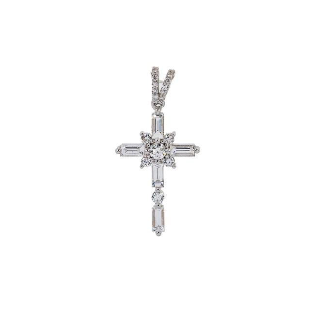 Item - White Gold 14k Cross Pendant with 1.00 Ct Diamond Earrings