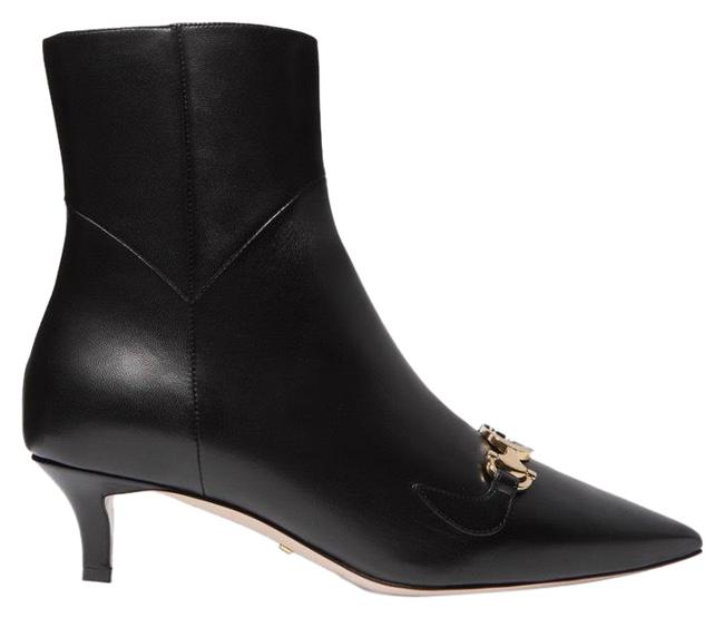 Item - Black Zumi Gg Logo Leather Ankle Boots/Booties Size EU 38 (Approx. US 8) Regular (M, B)