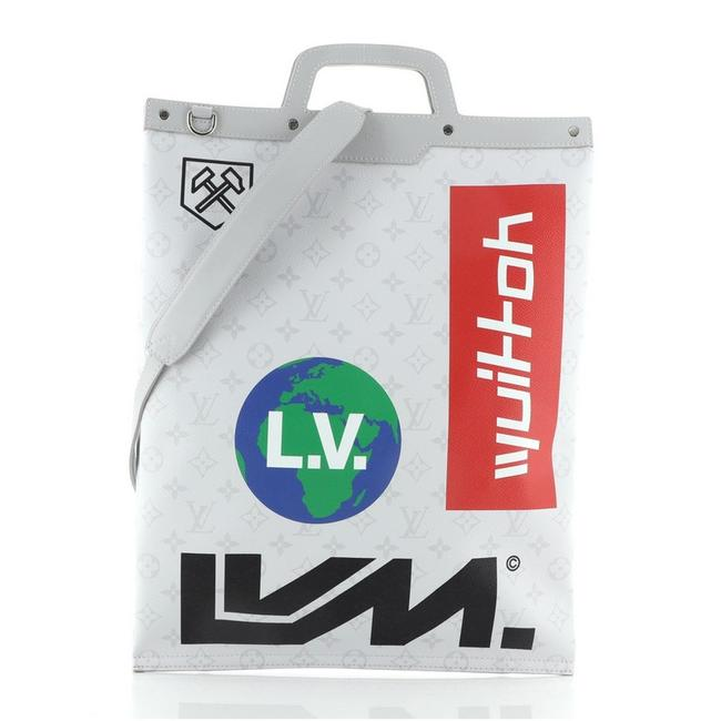 Item - Bag Chalk Flat Limited Edition Logo Story Monogram Gray Print Coated Canvas Tote