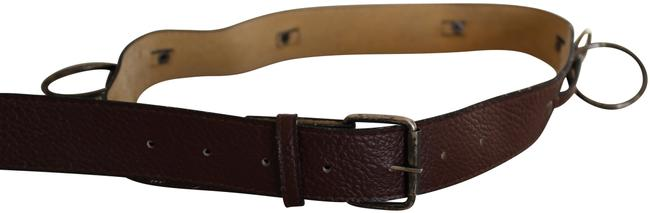 Item - Brown Faux Leather with Ring Details S Belt