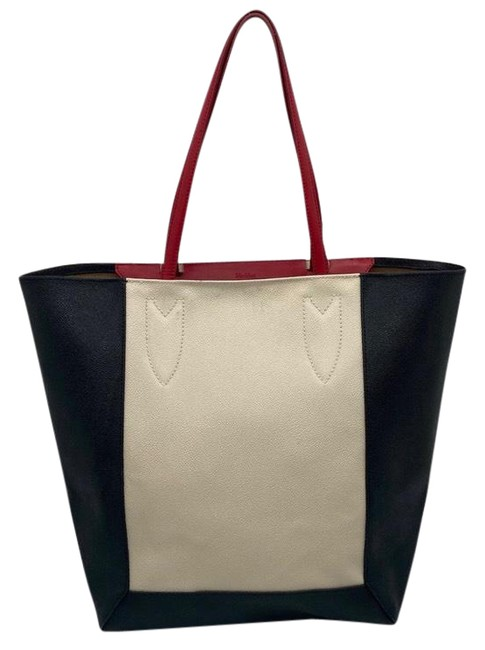 Item - Bag Colorblock Black Red and Cream Leather Tote