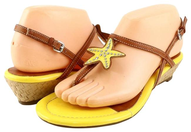 Item - Yellow / Brown Top- Sider Delray Leather Wedges Sandals Size US 7 Regular (M, B)