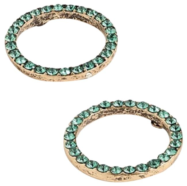 Item - Green Pave Circle Earrings