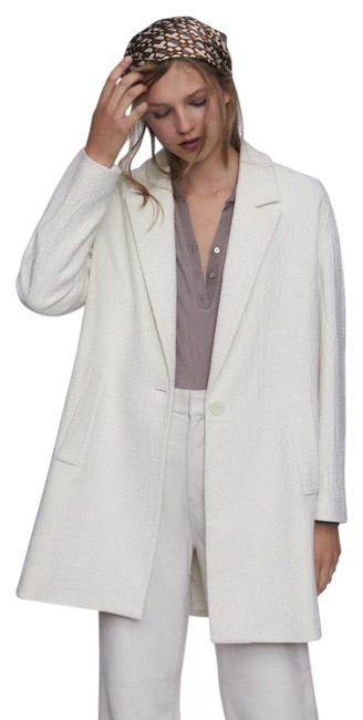 Item - White New Textured Wool Blend 7977/641 Coat Size 2 (XS)