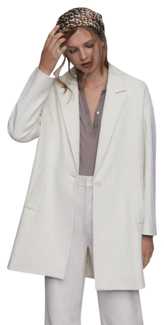 Item - White New Textured Wool Blend 7977/641 Coat Size 14 (L)