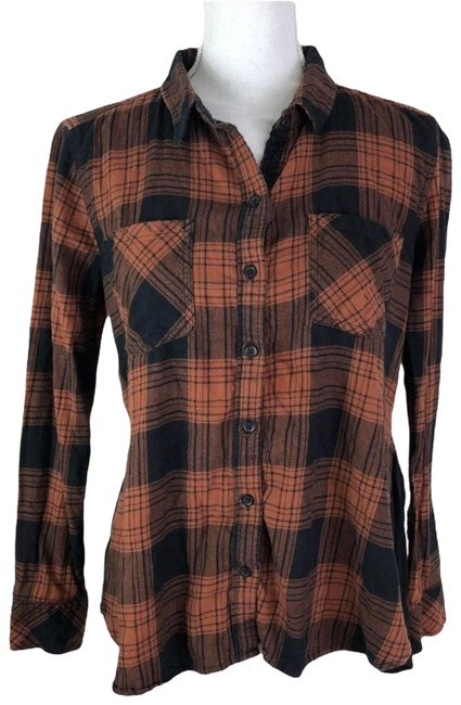 Item - Orange Peyton Jensen Plaid Peplum Flannel Small Button-down Top Size 4 (S)
