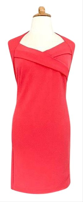Item - Coral Sleeveless Sweetheart Neckline Sheath Mid-length Work/Office Dress Size 20 (Plus 1x)