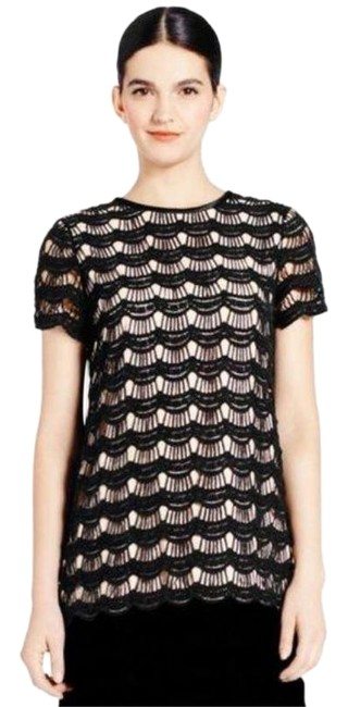 Item - Black Tan Scallop Lace Overlay Keyhole Blouse Size 14 (L)