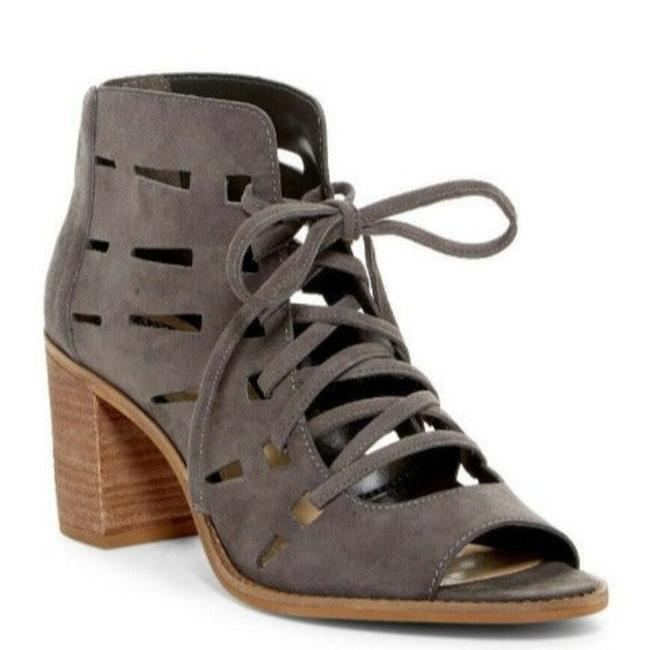 Item - Grey Tressa Laser Cut/Cut-out Leather/Suede Lace-up Peep Toe Boots/Booties Size US 6 Regular (M, B)