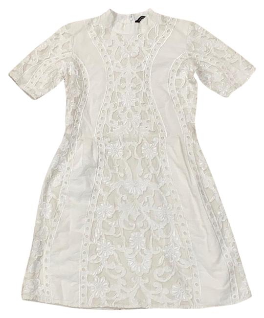 Item - Ivory Embroidered Sleeve Short Night Out Dress Size 6 (S)
