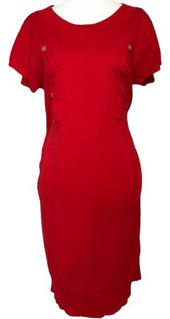 Item - Red Dvf Sleeve Pocket Detail Sweater Large Short Casual Dress Size 12 (L)
