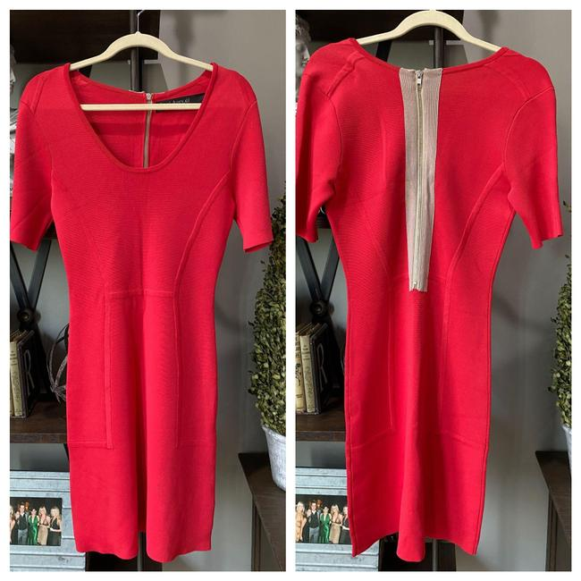 Item - Red Stretch Bandage Mid-length Cocktail Dress Size 4 (S)