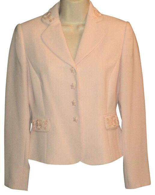 Item - Pink Embroidery & Sequined Accents A86 Rose Lined Dressy Blazer Size Petite 2 (XS)