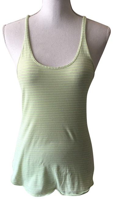 Item - Yellow Womens White Striped Scoop Neck Racerback Sleevel Tank Top/Cami Size 8 (M)