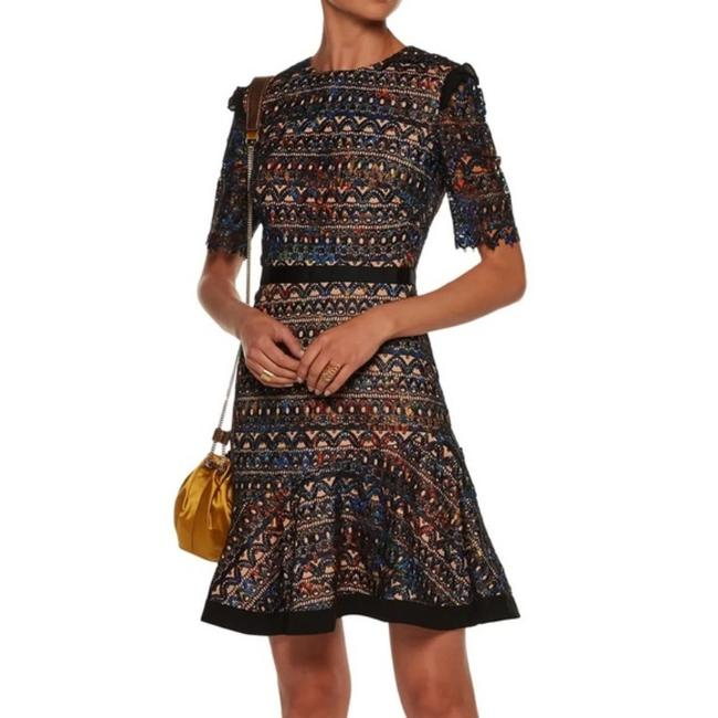 Item - Black Multicolor Ruffle Mid-length Night Out Dress Size 6 (S)