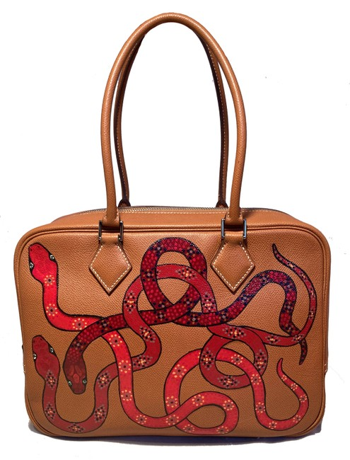 Item - Plume Painted Snakes 28 Tan Leather Tote