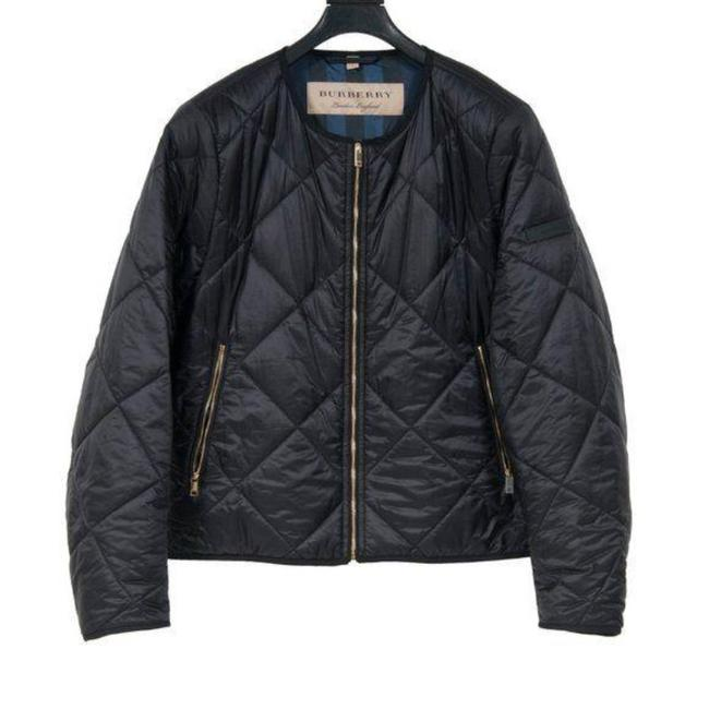 Item - Black Collarless Diamond Quilted Lightweight Bomber Jacket Size 12 (L)