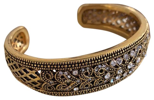 Item - Gold and Imitation Diamonds Cuff with Pave Bracelet