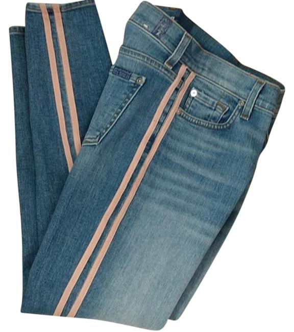 Item - Blue Pink Light Wash Roxanne Faux Suede Stripe Ankle Capri/Cropped Jeans Size 26 (2, XS)