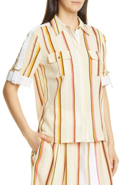 Item - Yellow Canyon Stripe Cotton Shirt Blouse Size 2 (XS)