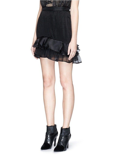 Item - Black Vendel Ruffle Layer Pleat Organza Skirt Size 2 (XS, 26)