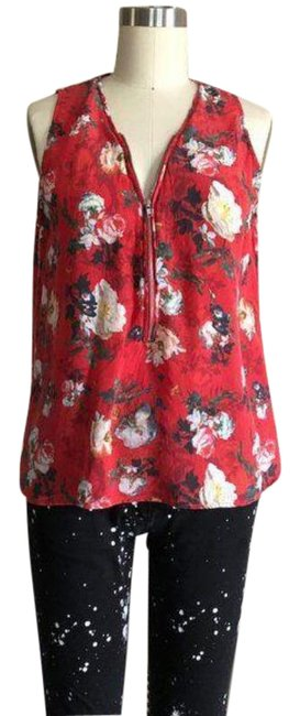 Item - Red Cream Floral Print Front Zip Silk Tank Flower Blouse Size 8 (M)