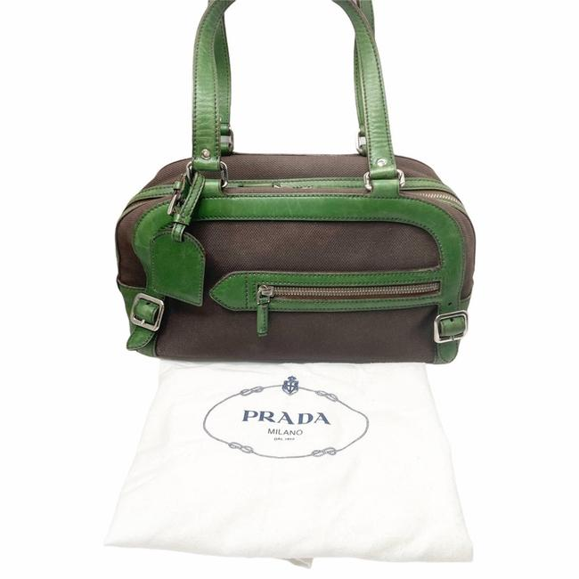 Item - Green/Brown Canvas Nappa Leather Bowler Green Satchel