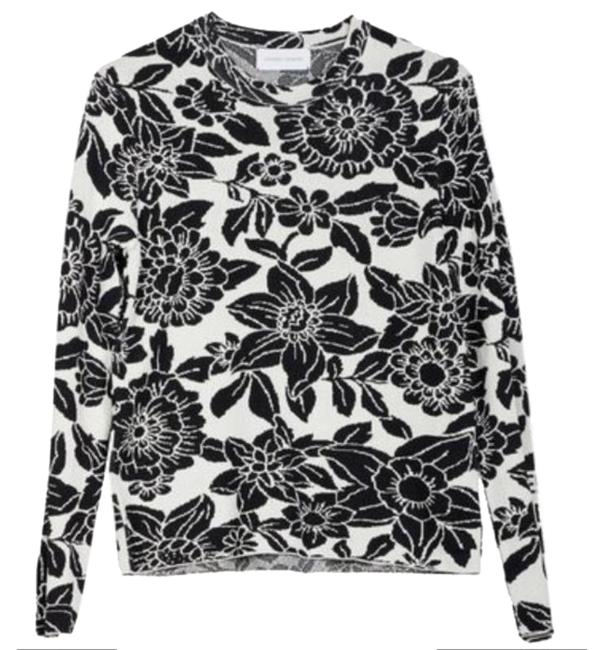 Item - Mother Nature Knit Floral Black & White Sweater