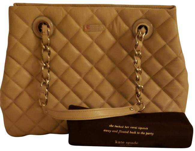 Item - Quilted Cream Lambskin Leather Satchel