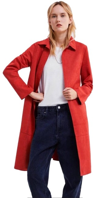 Item - Red Faux Suede Open Front Duster Jacket Overcoat Pockets M Coat Size 8 (M)