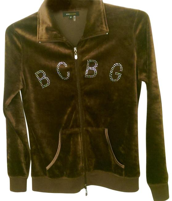 Item - Coffee Brown W/Bling Logo Bcbg Stud Poly Cotton Blend Med Women's Jacket Size 8 (M)