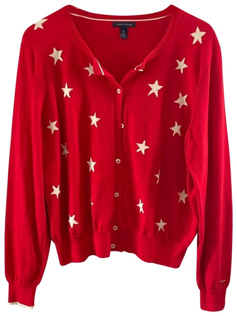 Item - Star Button Cardigan White Red Sweater