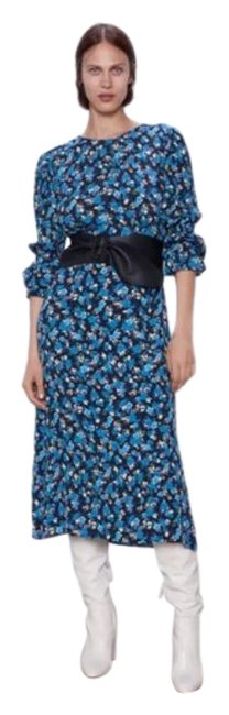 Item - Blue Floral Long Sleeve Midi Mid-length Casual Maxi Dress Size 4 (S)