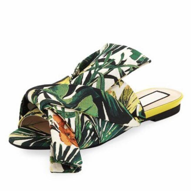 Item - Green Yellow Floral Print Palm Leaf Canvas Jacquard Bow Knot Slide Sandals Size EU 38 (Approx. US 8) Regular (M, B)