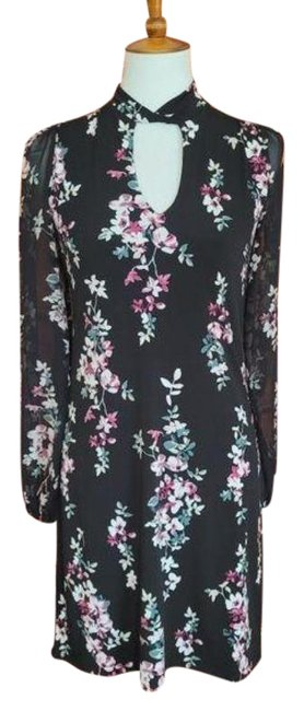 Item - Whbm and Floral Sheer Sleeve Work/Office Dress Size 0 (XS)