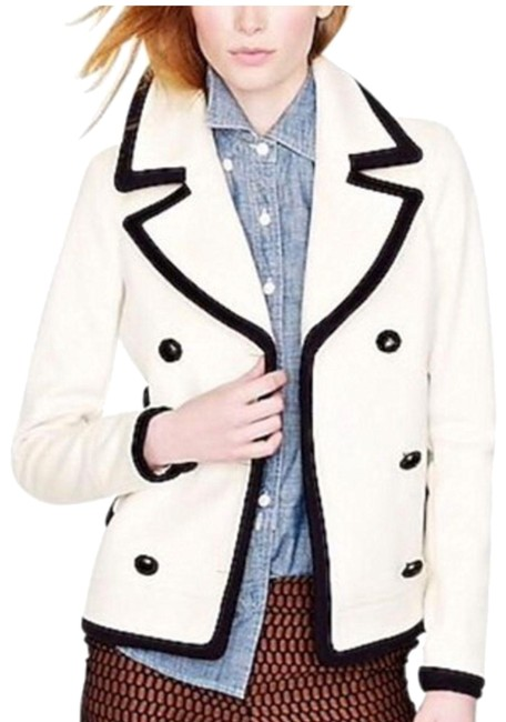 Item - Cream Navy 0 Tipped Italian Wool By Nello Gori Double Breasted Coat Size 0 (XS)