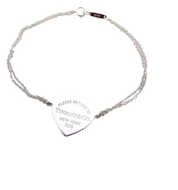 Item - Silver Return To Heart Tag Double Strand Chain Bracelet