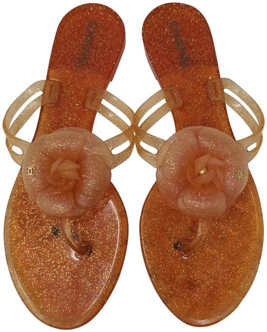 Item - Orange Jelly Glitter Interlocking Cc Camellia Sandals Size EU 40 (Approx. US 10) Regular (M, B)