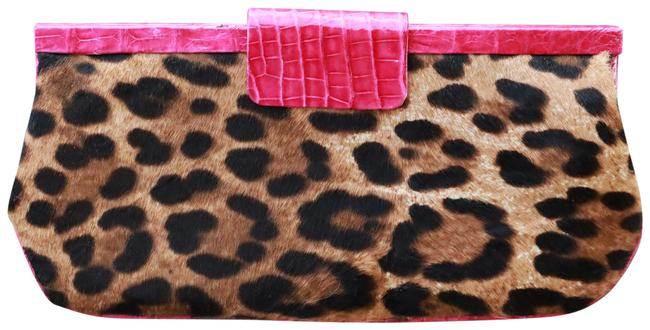 Item - Leopard Hot Pink and Brown Crocodile Skin Leather Clutch