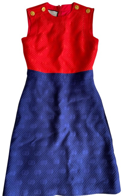 Item - Red Blue 2020 Gg Logo Tunic Mid-length Cocktail Dress Size 10 (M)